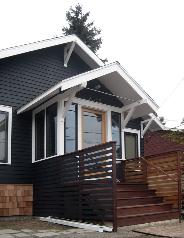 Horizontal slats and black paint curb appeal house - Cost to paint exterior trim on house ...