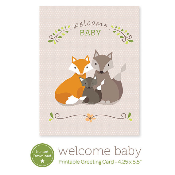 Instant download welcome baby printable card fox family greeting instant download welcome baby printable card fox family greeting card pdf digital new baby m4hsunfo