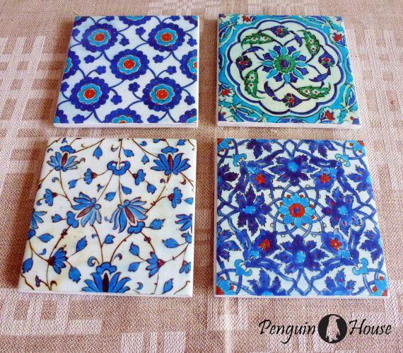 Set of 4 Handmade Square Shaped Ceramic under by PenguinHouseLV, $19.00