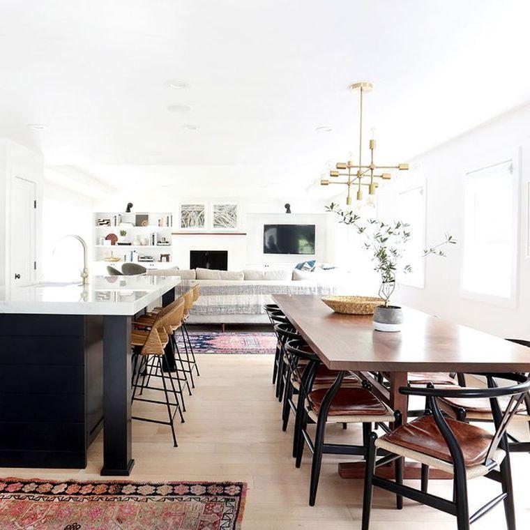 Déco cuisine ouverte, pièce à vivre et salle à manger avec plan