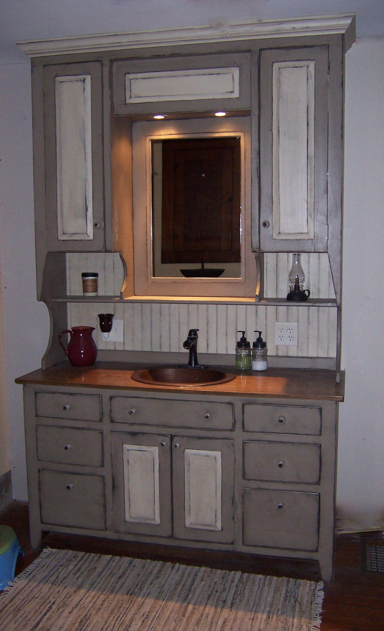 Newly Finished Bathroom Vanity Primitive Bathrooms