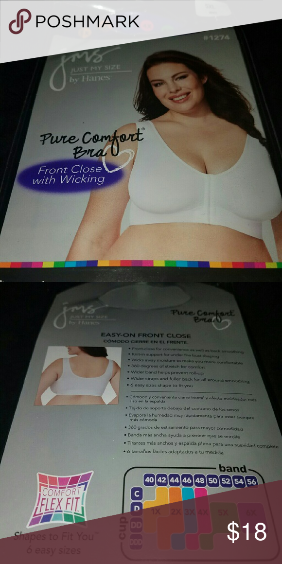 1fbcee0f26 NEW! Just My Size Pure Comfort Bra Plus Size 5XL NEW! JMS Pure ...