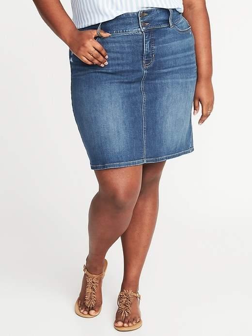 7766a5613939a High-Rise Secret-Slim Pockets Plus-Size Denim Pencil Skirt.  plussize   plussizemodel  fashion  women  womensfashion  plussizefashion  jeans  denim