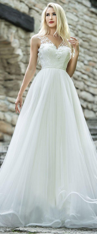 Elegant tulle vneck neckline natural waistline aline wedding dress