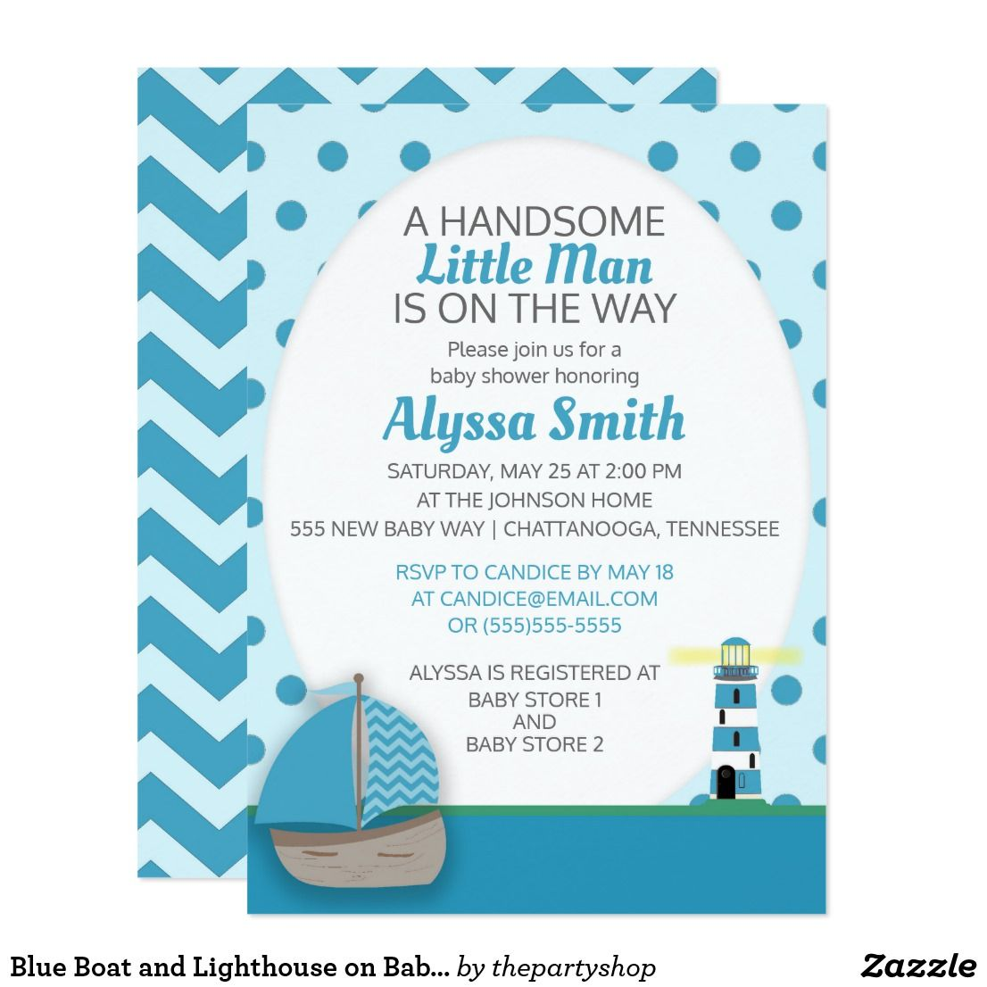 Blue Boat and Lighthouse on Baby Boy Shower Invite | Baby boy shower ...