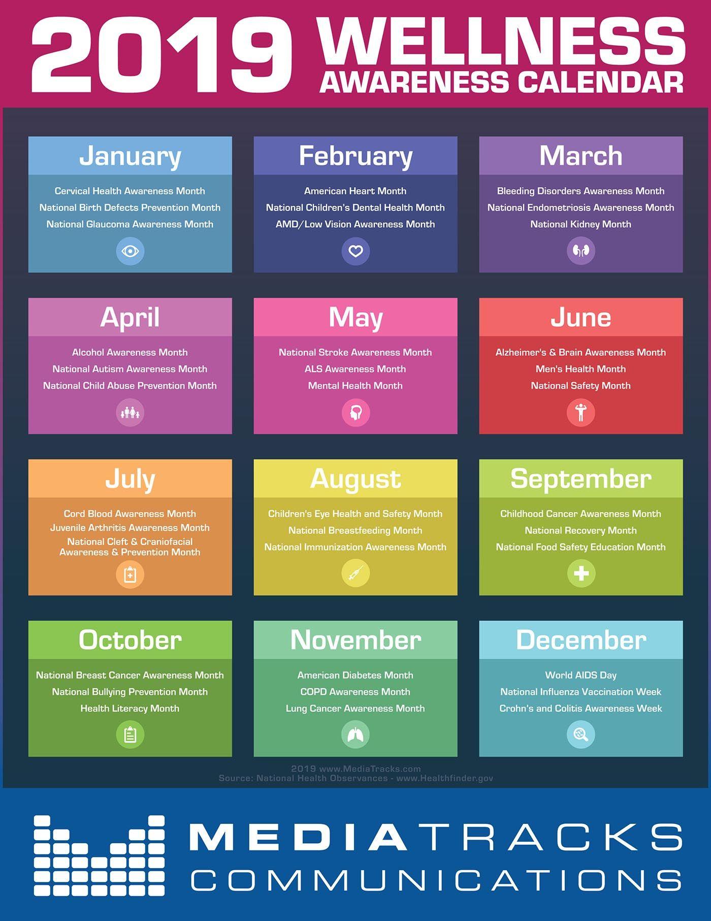 2019 Health & Wellness Awareness Calendar [Infographic ...