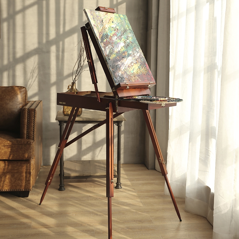 225.40$  Buy here - http://aliws7.worldwells.pw/go.php?t=32695593719 - Free shipping Portable Painting Easel Classic Wooden Oil Painting Palette Box with a Shoulder Strap