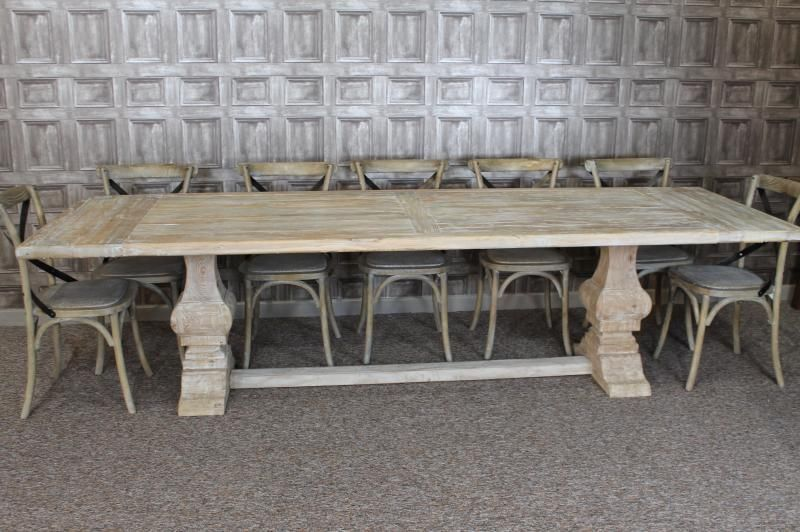 Large 3m distressed limed elm dining table white washed ...