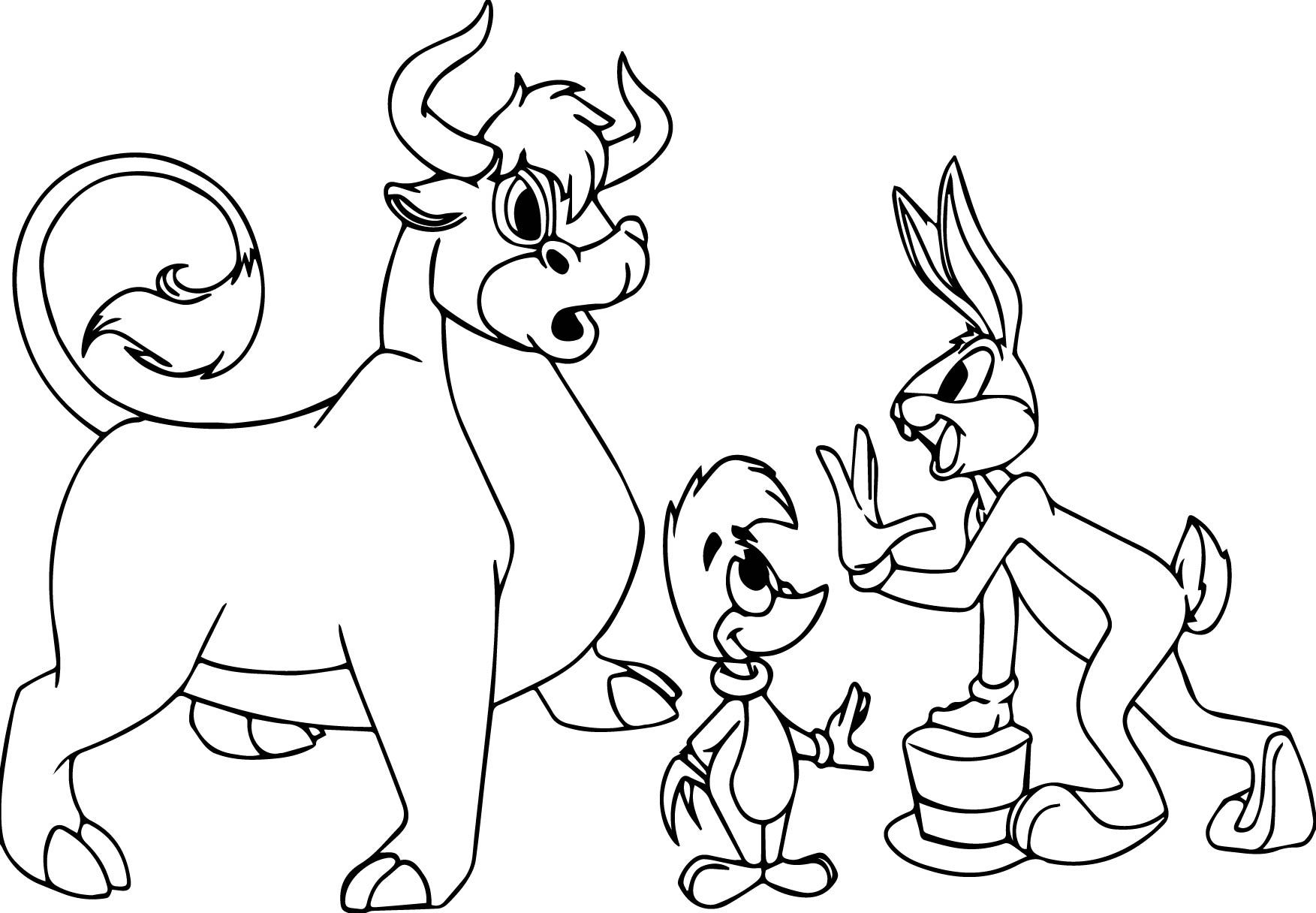 awesome Woody Woodpecker Bugs Bunny Bull Coloring Page
