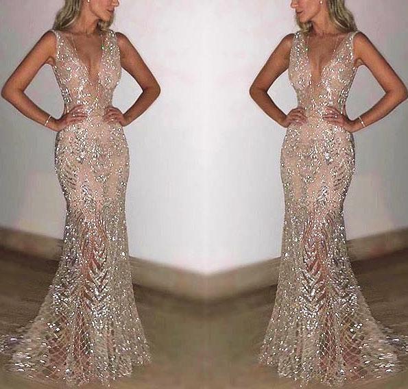 Elegant Sexy Slim Paillette Sleeveless Deep V Collar Braces Evening Dress