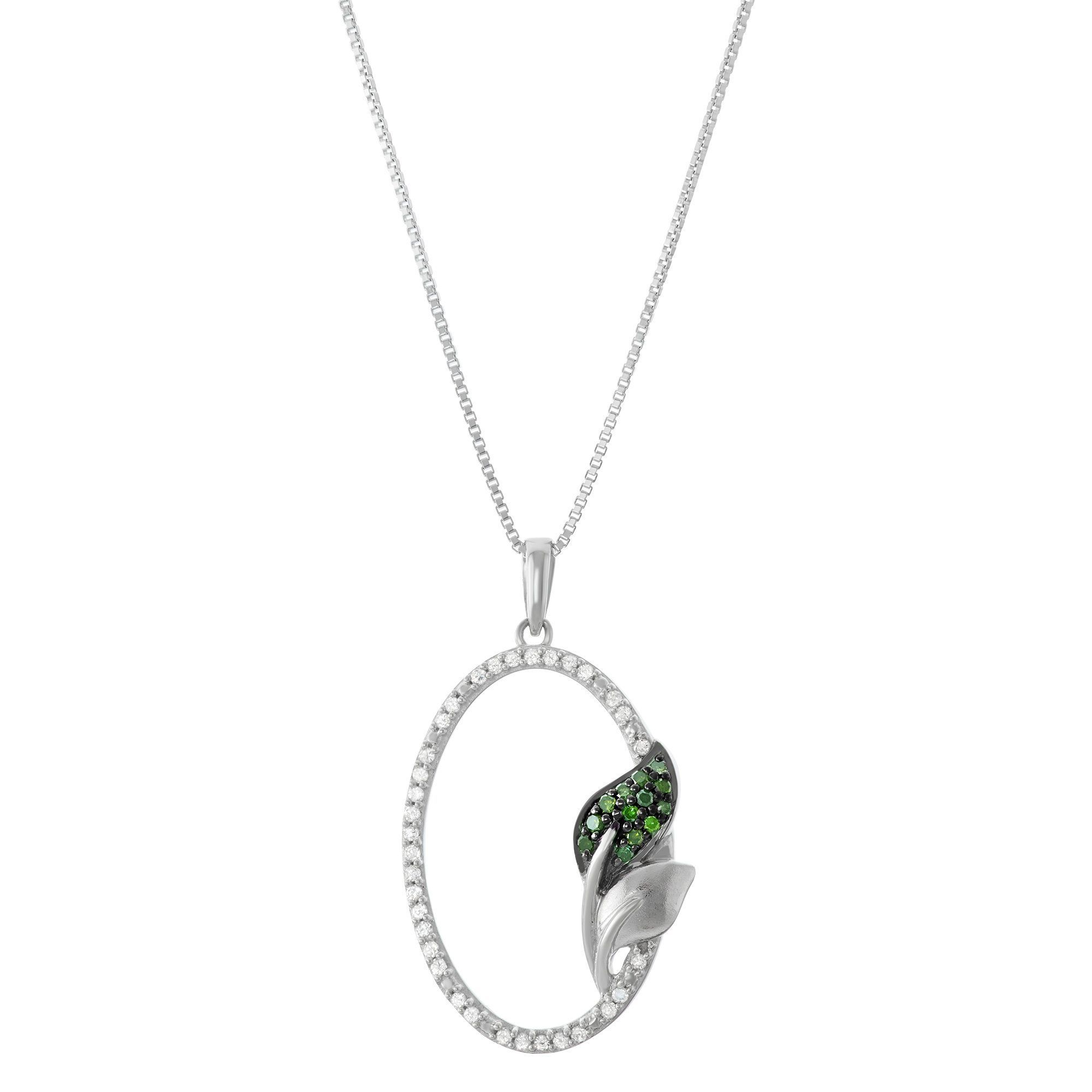 1/5 Cttw Oval Pendant With And Green Diamonds in Sterling Silver