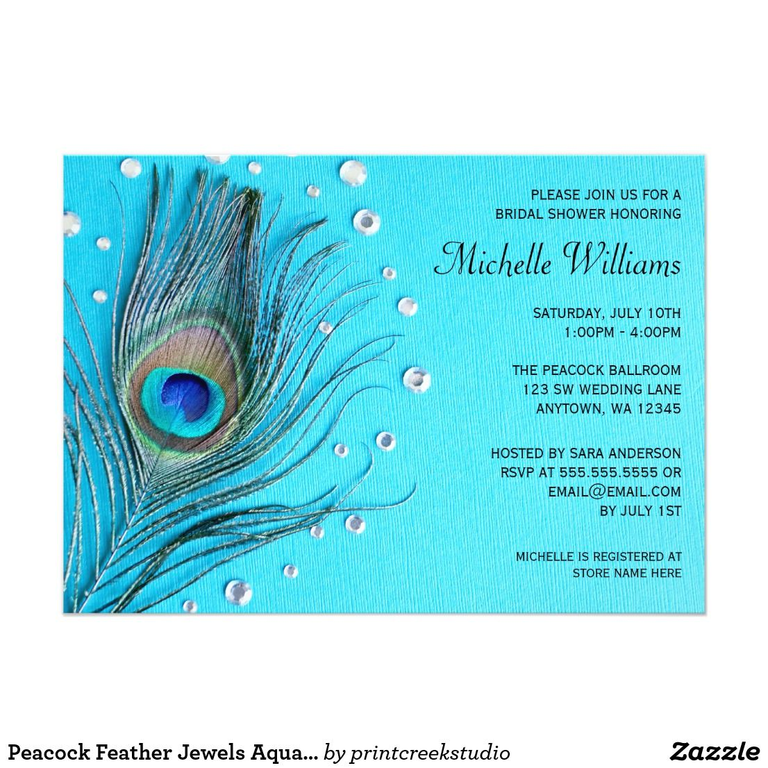 peacock feather jewels aqua bridal shower card elegant peacock feather and jewels bridal shower invitations perfect for a peacock feather themed bridal