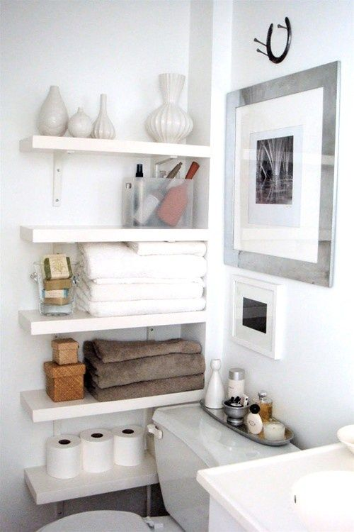 Small Bathroom With Shelves On Right Side Of Toilet  Half Bath Delectable Bathroom Storage For Small Spaces Inspiration Design