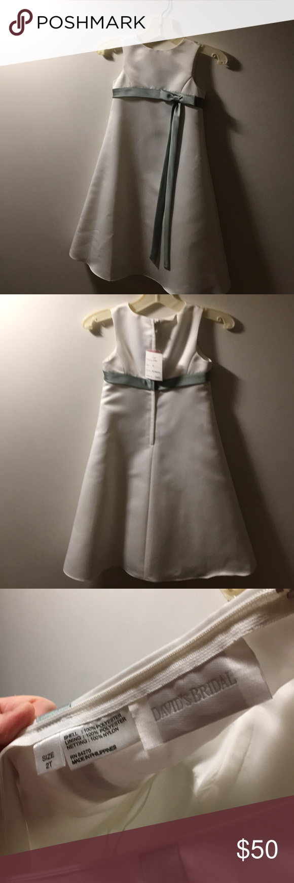 7640256a67c Holiday Flower Girl Dress NWT David s Bridal size 2T FLOWER GIRL DRESS or  perfect for the holidays. Colored Ivory Peridot runs a little big in my  opinion.