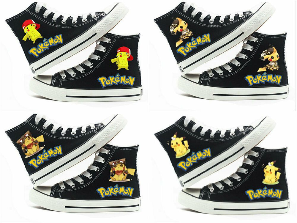 New Pokemon anime black shoes cosplay low to help canvas shoes leisure Fashion