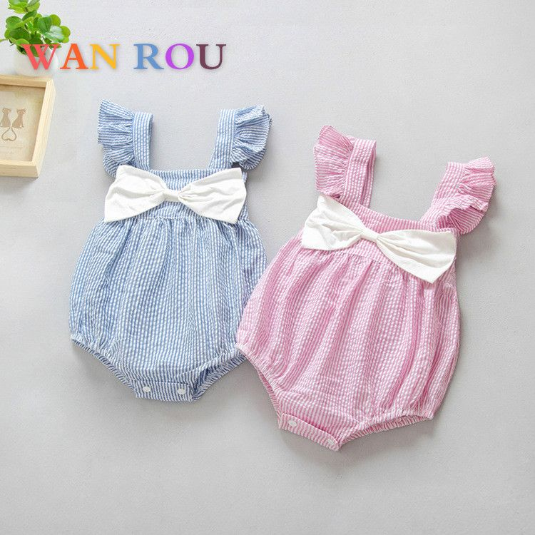 Summer Newborn Kids Baby Girls Striped Romper Bow-knot Jumpsuit Outfits Bodysuit