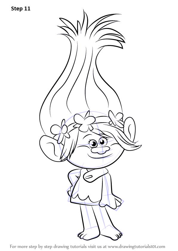 Learn How to Draw Princess Poppy from Trolls (Trolls) Step