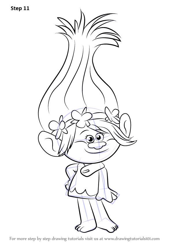 Learn How To Draw Princess Poppy From Trolls Trolls Step By Step Drawing Tutorials Poppy Coloring Page Disney Coloring Pages Princess Drawings