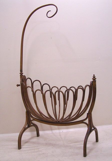 Antique Thonet Bentwood Baby Crib Kinderwiege C1900
