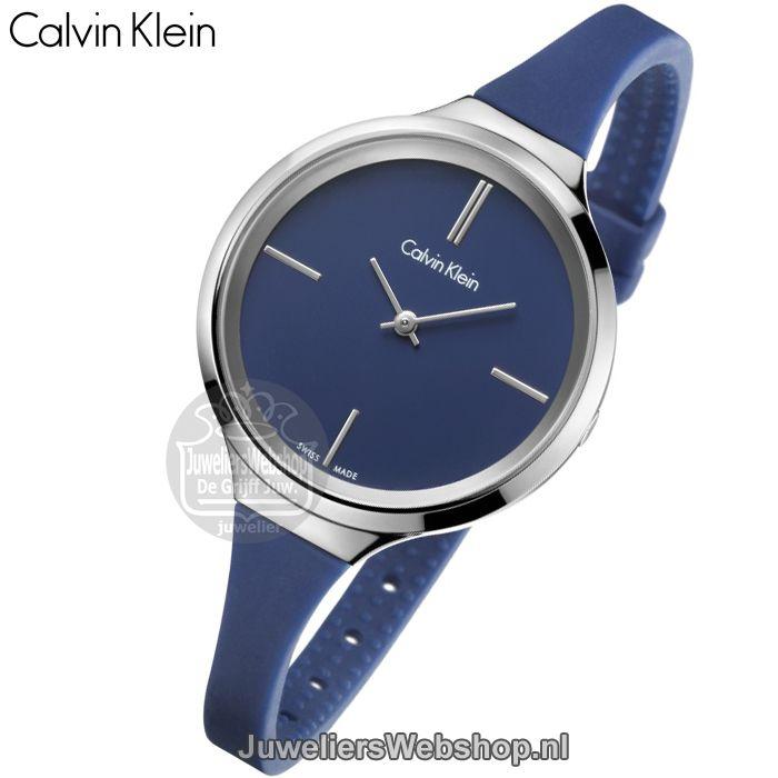 goed uit x beste goedkoop skate schoenen Calvin Klein K4U231VN Lively dames horloge Edelstaal Blauw ...