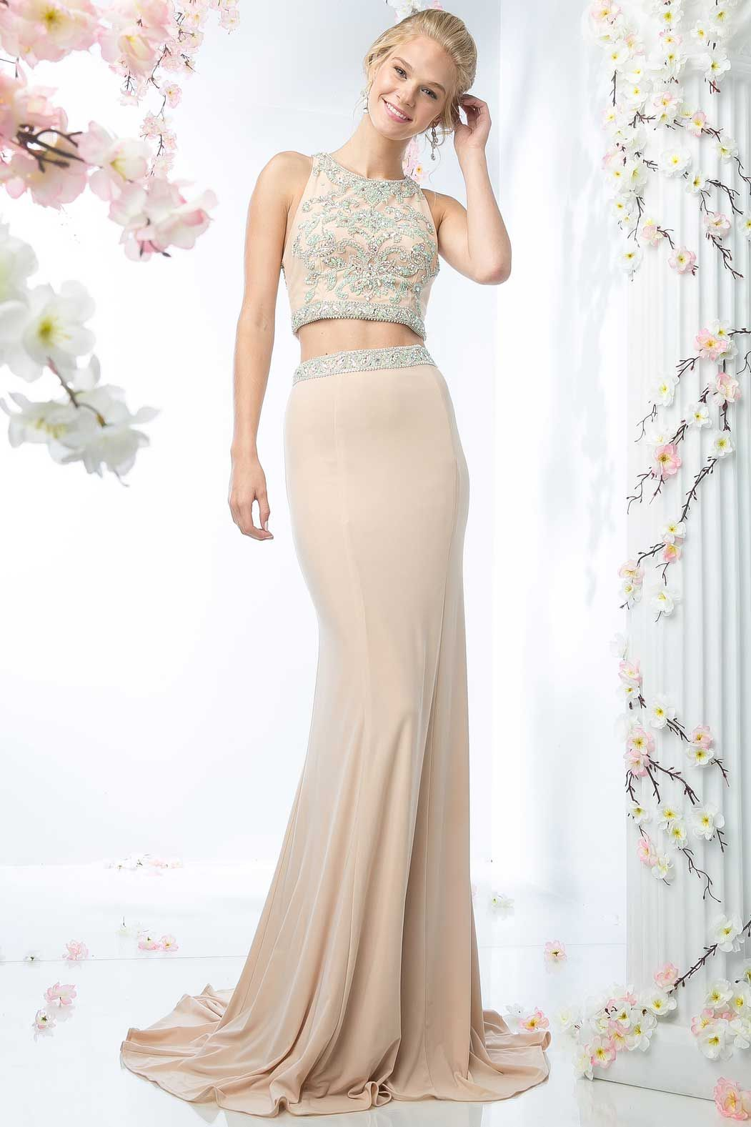 Long prom dress cdck two piece set floor length prom and evening