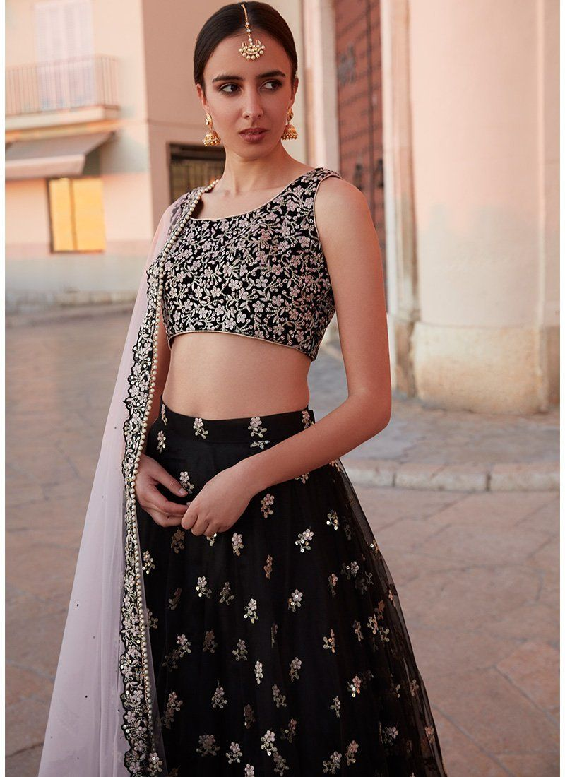 5ea9b65ba8b75 Black embroidered crop top and black lehenga skirt with pink dupatta. Click  on picture to see lehenga price.  Frugal2Fab