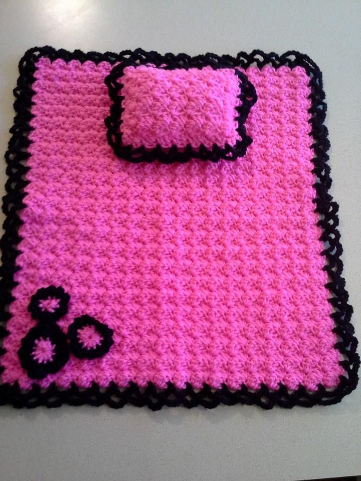 Crocheted American Girl Doll Blanket And Pillow Crochet American