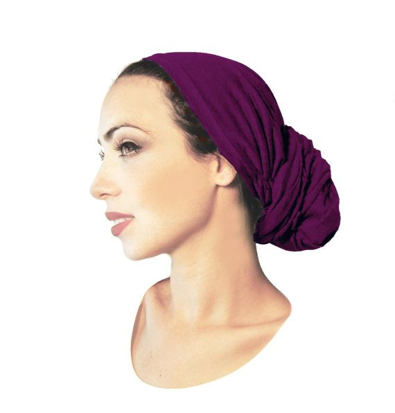 Aubergine Head Scarf Tichel Hair Snood Chemo Hat Cap Turban Cotton ...