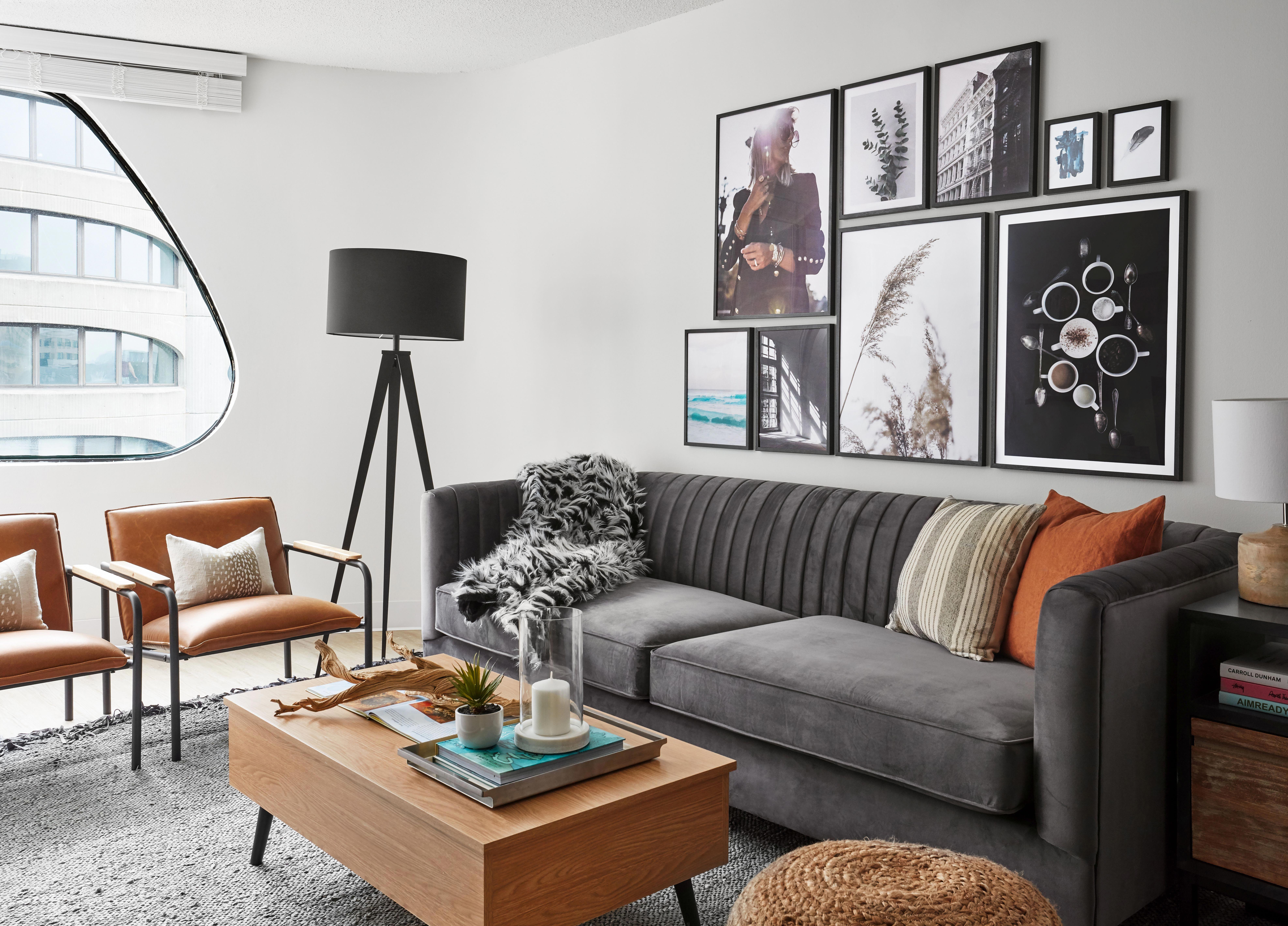 Modern Living Room With Hardwood Floors Grey Suede Couch Orange