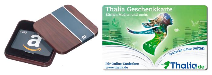 Zu gewinnen: 100-Euro-Gutscheine für Amazon.de und Thalia.de