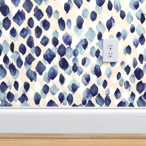 Colorful Fabrics Digitally Printed By Spoonflower Indigo Rain Removable Wallpaper Room Wallpaper Wallpaper Accent Wall