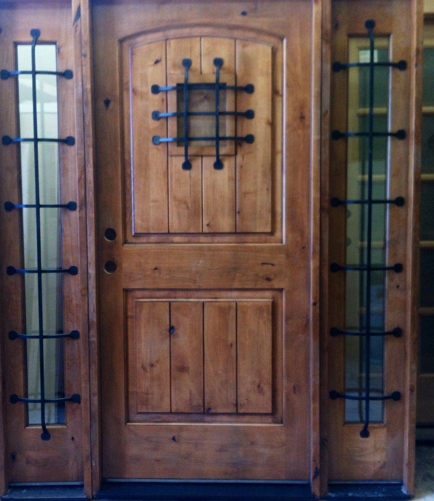 unfinished front doorRustic Wood Doors with Sidelights Knotty Alder Unfinished Front
