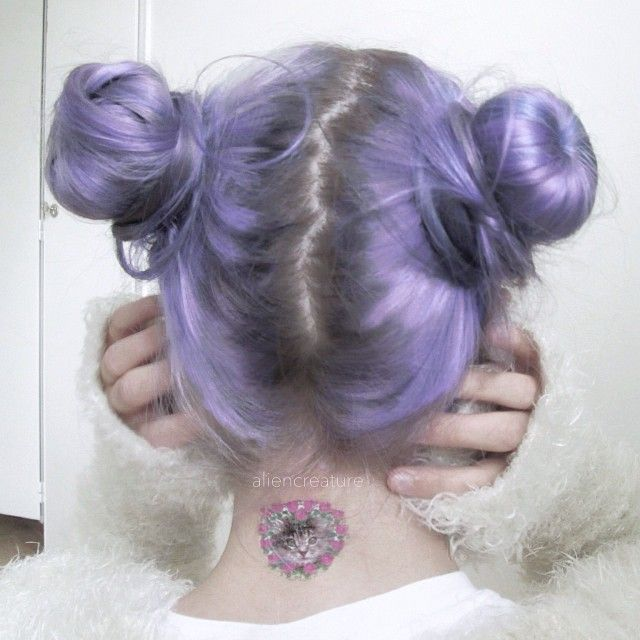 Purple Hair with Top Knot Bunny Ears, fun Hair for Summer 2015