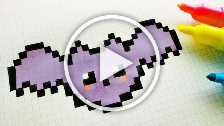 Handmade Pixel Art - How To Draw a Kawaii Bat -
