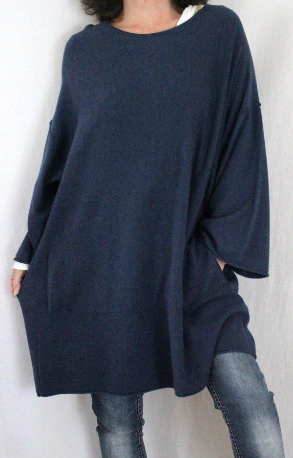 a9bc6e513ad Pure Jill J.Jill Cashmere Cotton Kimono Sleeve Oversize Tunic Sweater Blue  Sz XL  JJill  Tunic