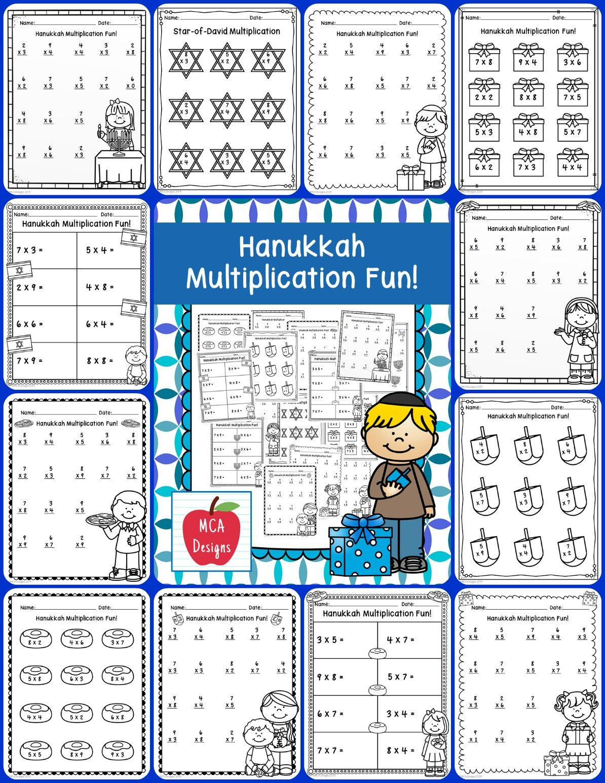 Hanukkah Multiplication Facts Multiplication Facts Math Centers Math [ 1545 x 1194 Pixel ]