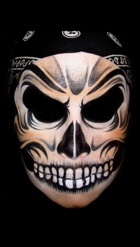 Skull Face (Face Painting) by Catherine Pannulla Projects to Try - halloween face paint ideas scary