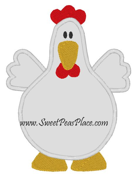 Chicken Applique Embroidery Design … | Embroidery and Felt