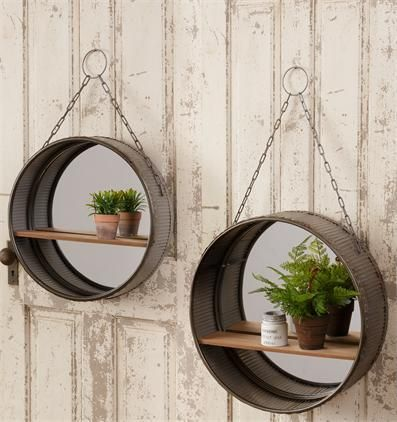 Galvanized Round Wall Mirrors With Shelf Set Of 2 Farm