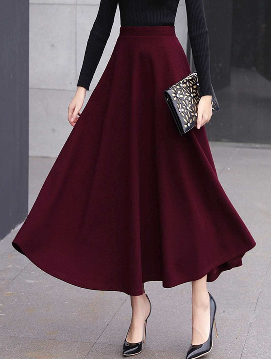 Womens A-line Dress Pleated Retro Long Maxi Elastic Waist Large Swing Skirts