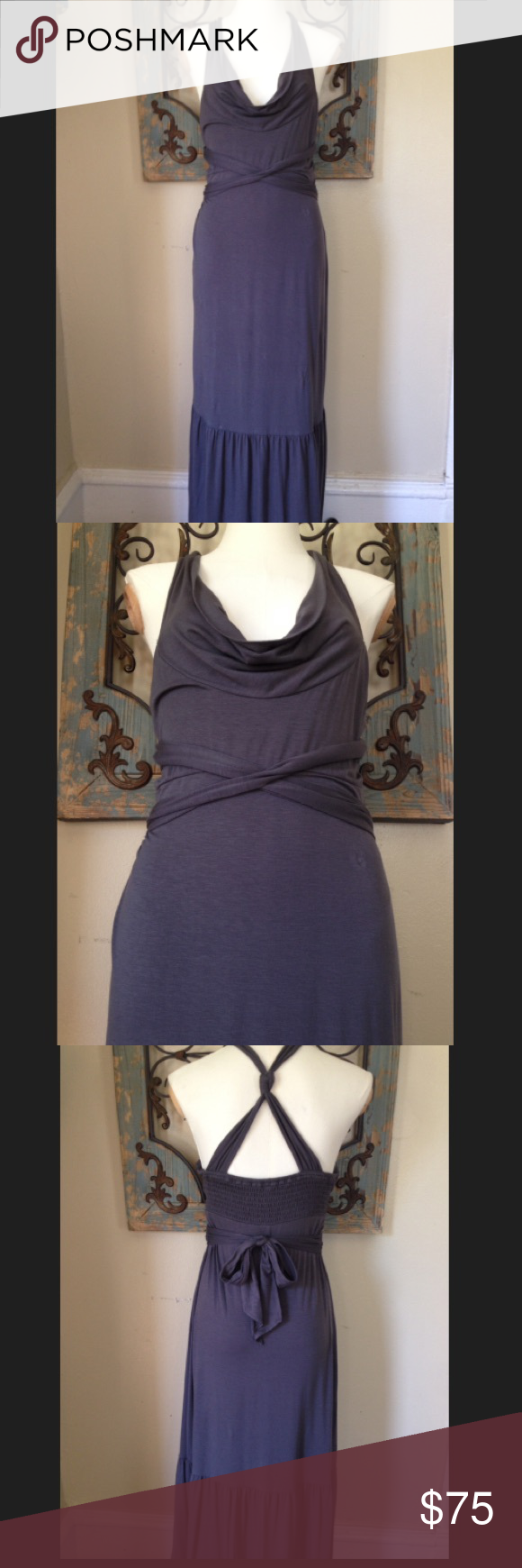 Free People maxi dress Excellent condition... Beautiful and comfortable maxi dress.. 56 inches in length. Fabric at sides ties in back of dress.. Smoke free and pet free home. Bundle your order and save 20%!! Free People Dresses Maxi