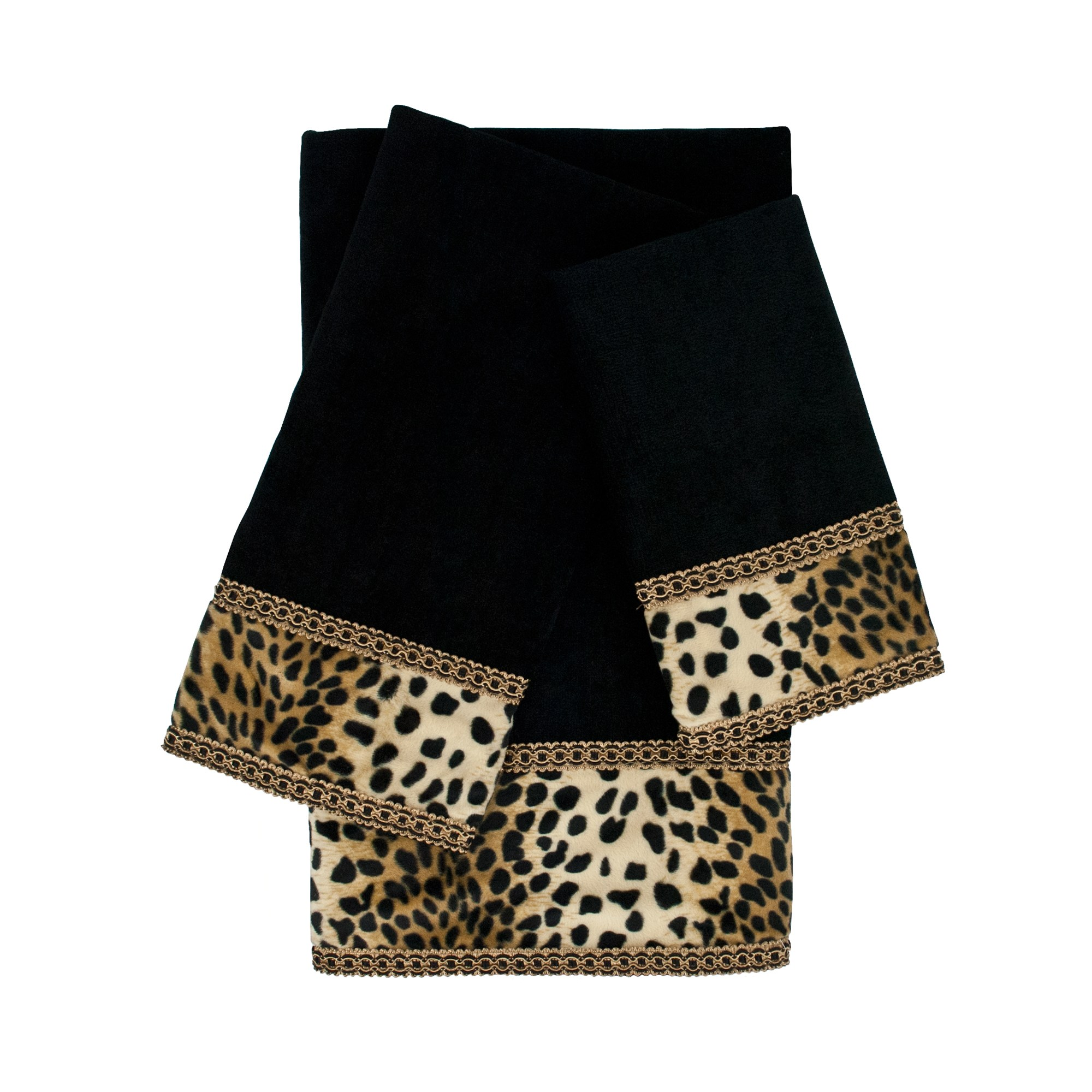 Black Sherry Kline 3 Piece Leops Black Embellished Towel Set