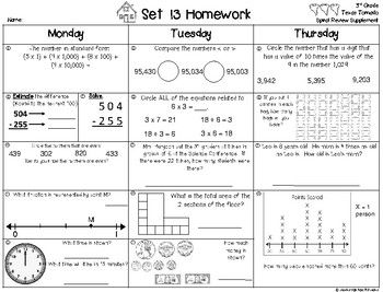 3rd Grade Math Weekly Spiral Review Homework, Quiz,or Extra Practice ...