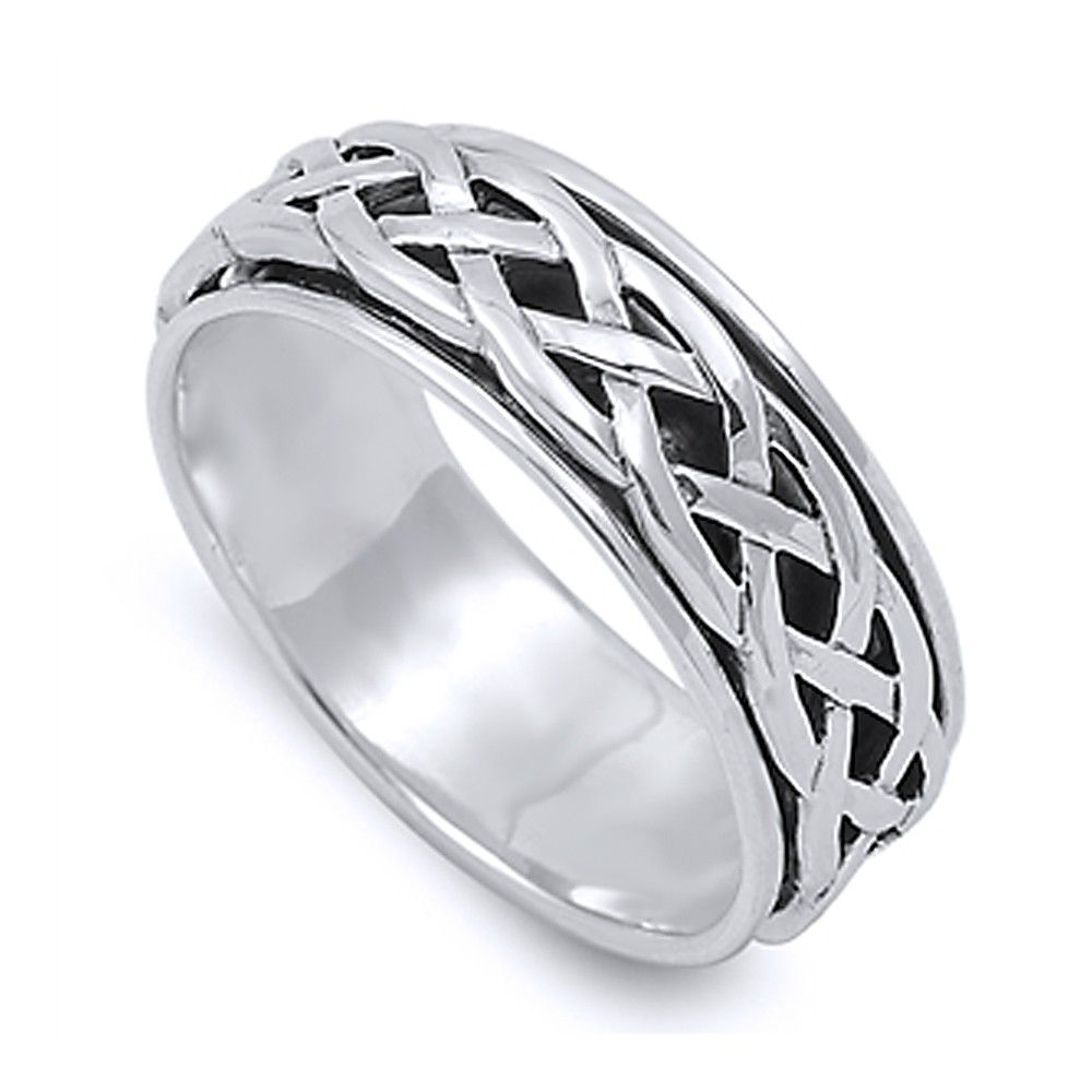 Sterling Silver Wedding U0026 Engagement Ring Celtic Design Spinner Wedding  Band 8mm ( Size 4 To