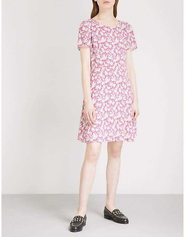 Claudie Pierlot Woman Off-the-shoulder Layered Floral-print Crepe De Chine Dress Blush Size 36 Claudie Pierlot YtYHfF1M1