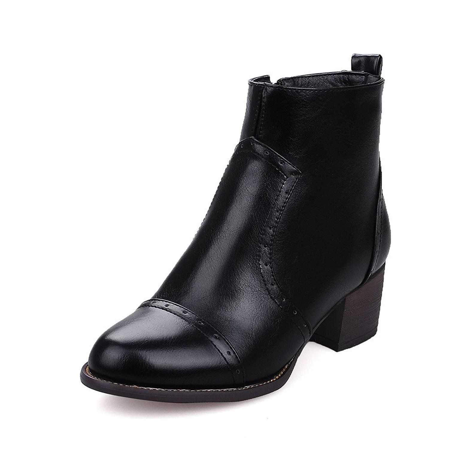 Women's Low-Heels Solid Round Closed Toe Soft Material Zipper Boots