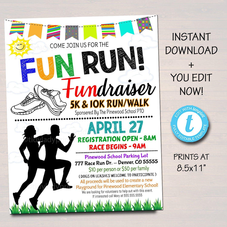 Fun Run Race Community Marathon 5k Fundraiser 5x7 Invite Etsy Fun Run Fundraiser Flyer Digital Invitations