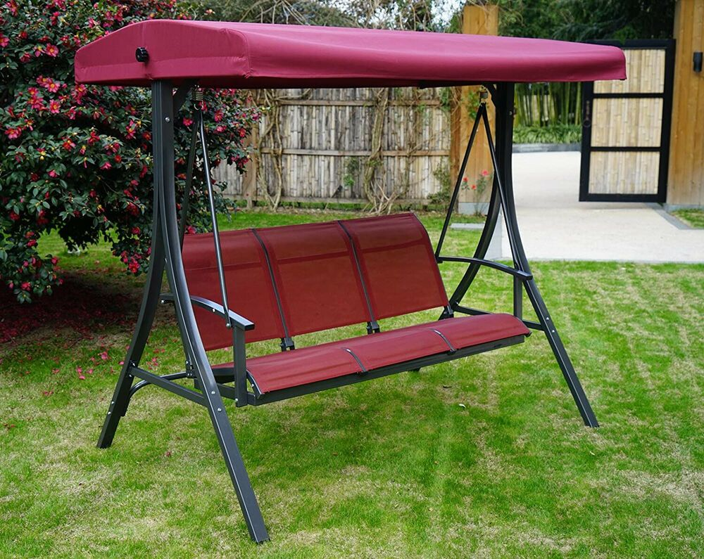 Swing With Canopy Heavy Duty Steel Frame 3 Person Adjustable Sofa