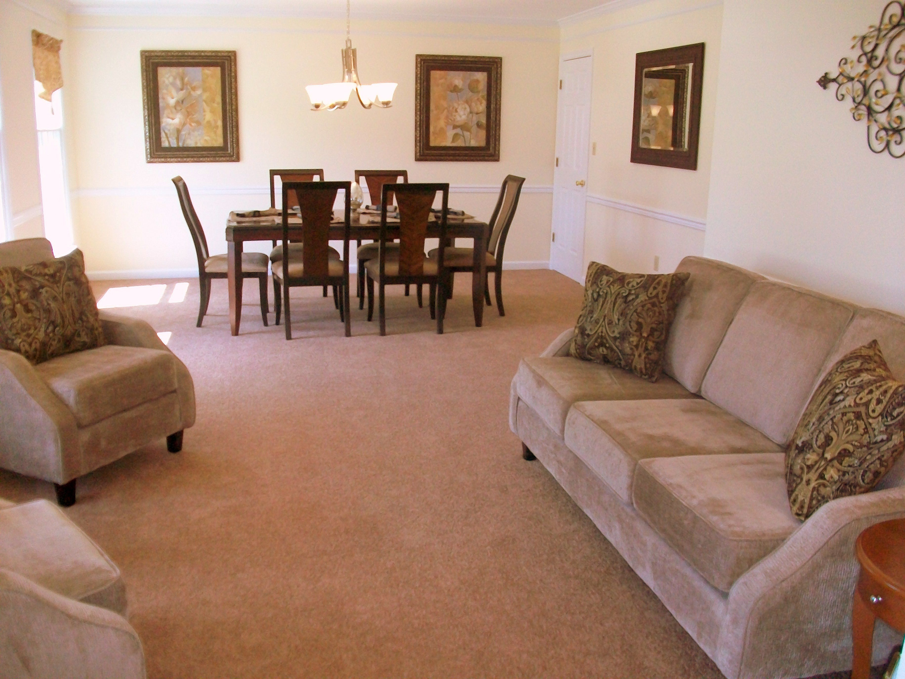 Formal sitting area and dining room