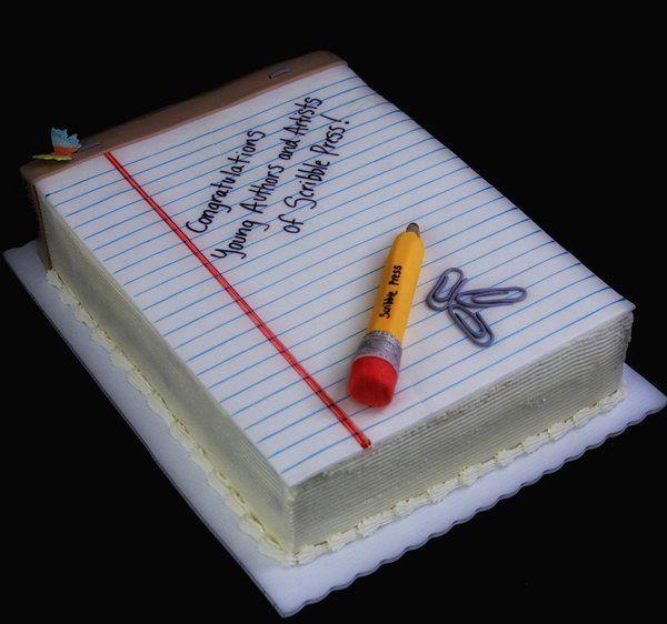 Notepad Cake Teacher Cakes Teacher Birthday Cake School Cake
